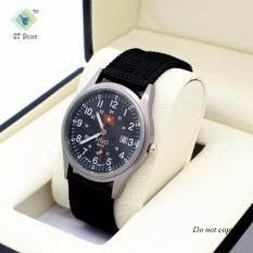 Đồng hồ nam dây vải SINO 7699 Xám – tặng kèm vòng phong thủy đá đen