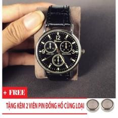 Đồng hồ nam giá rẻ TimeZone Geneva cá tính (Đen) + Tặng Kèm Pin Đồng Hồ