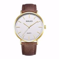 Đồng hồ nam Halei 135 dây da nâu chống nước