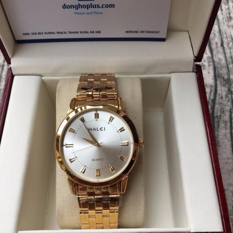 Đồng hồ nam Halei 2V vàng mặt trắng