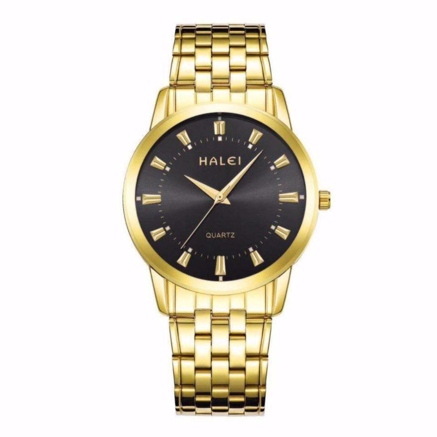 Đồng hồ nam Halei 502 dây vàng mặt đen chống nước