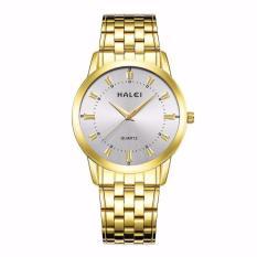 Đồng hồ nam Halei 502 dây vàng mặt trắng chống nước