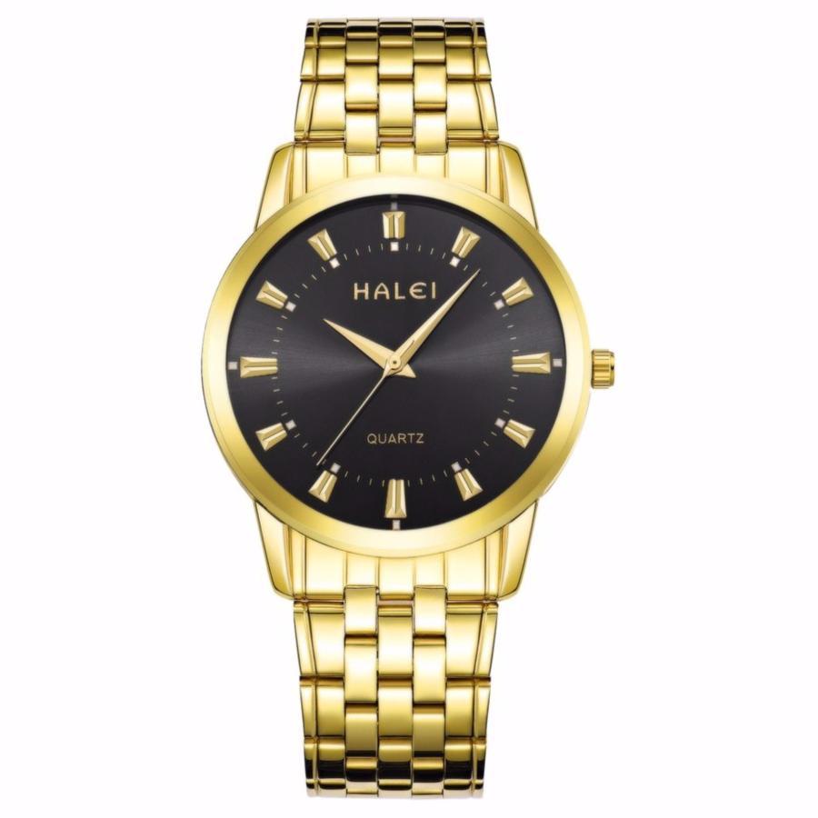 Đồng hồ nam Halei HL163 chống nước – dây vàng mặt đen