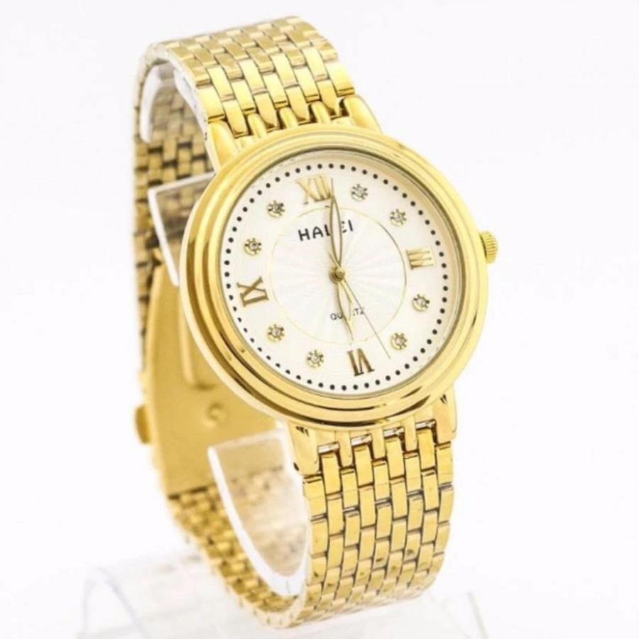 Đồng hồ nam Halei HL164 vuông mặt vàng cực men