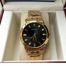 Đồng hồ nam Halei mã 502 dây vàng mặt đen