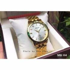 Đồng hồ nam Halei mã 502 dây vàng mặt trắng