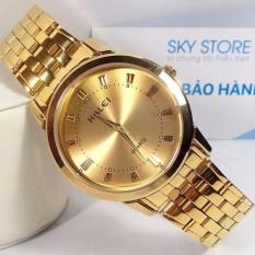 Đồng hồ nam Halei mã 502 dây vàng mặt vàng