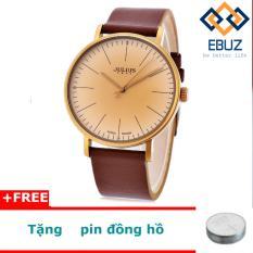 Đồng hồ nam JULIUS Hàn Quốc dây da JA814 (nâu) + tặng 1 pin đồng hồ EBUZ