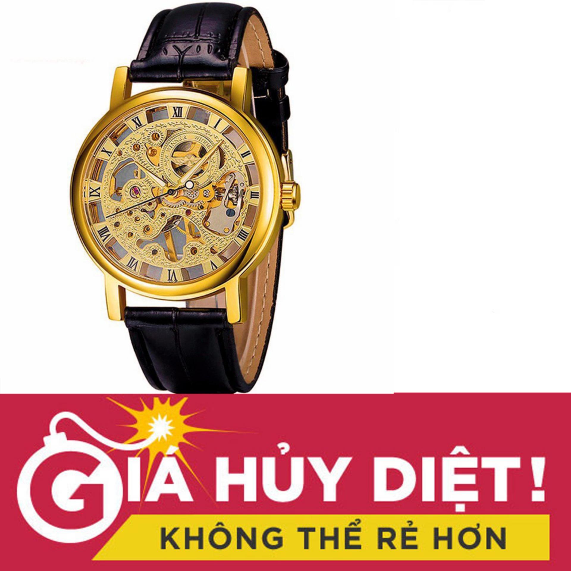 Đồng hồ nam lộ máy cơ dây da WINNER MDL-WN137 (Đen)