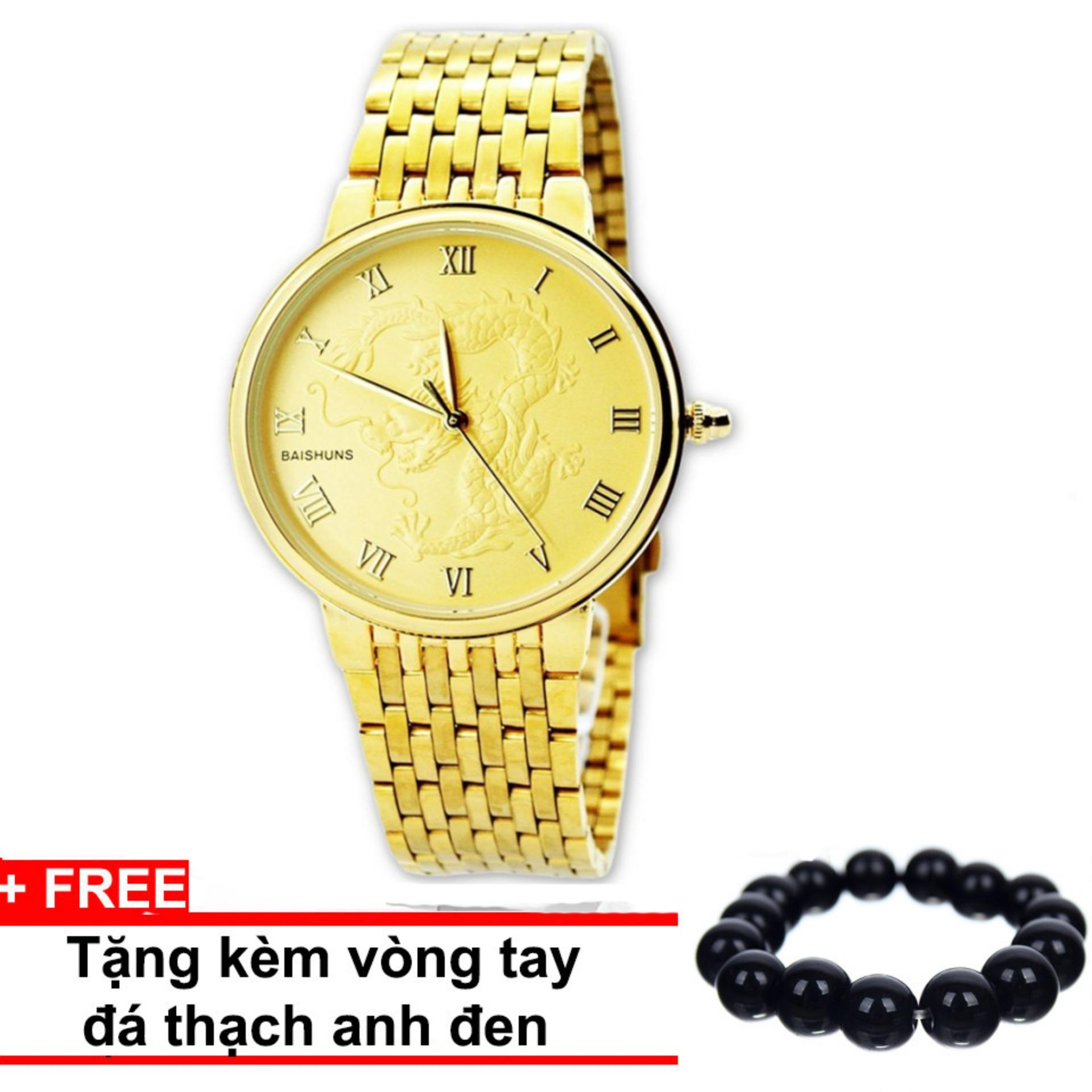 Đồng hồ nam mặt đúc rồng mạ vàng BAISHUNS 2018 (Vàng)+ Tặng kèm vòng tay thạch anh
