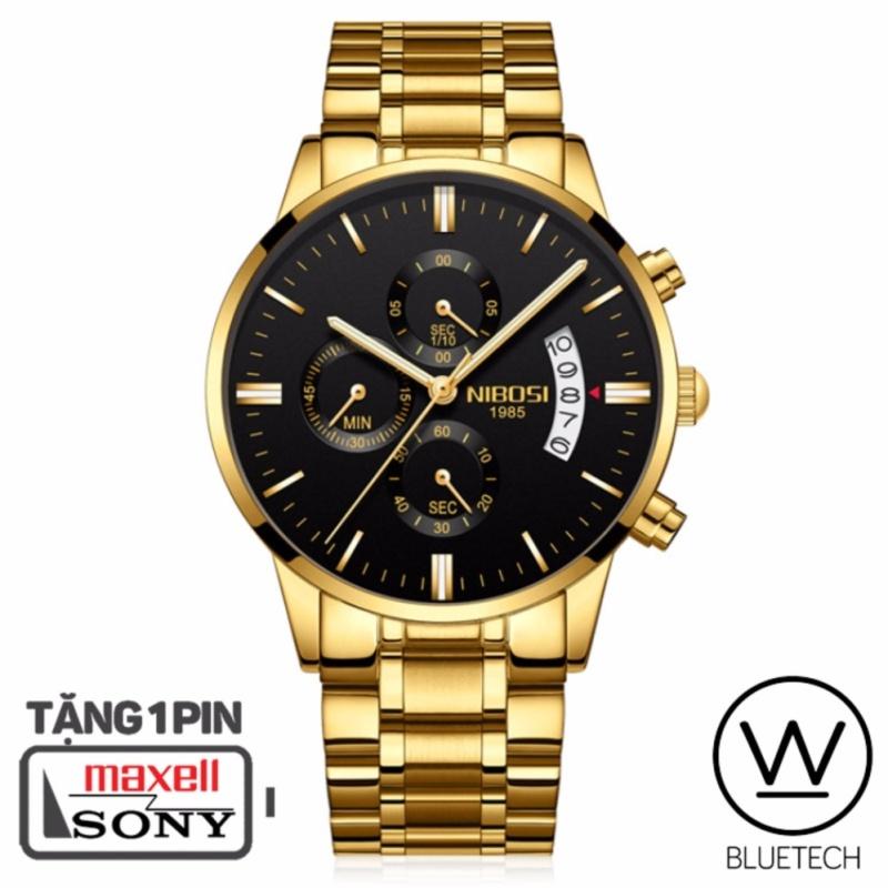 Nơi bán Đồng hồ nam NIBOSI 6 kim Dây Vàng - Mặt Đen Viền Vàng