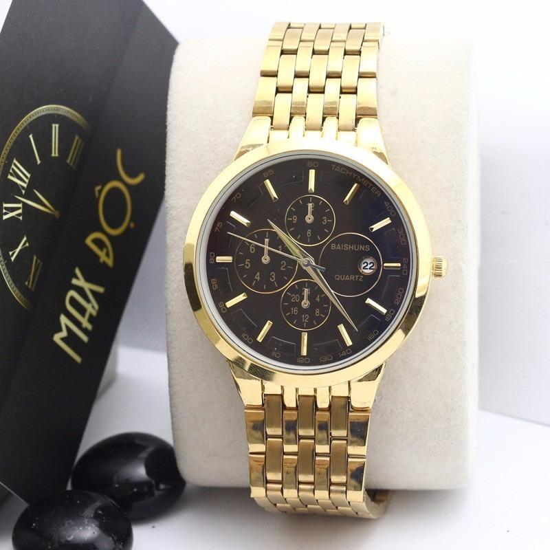 Đồng hồ nam nữ Baishuns mặt đen đẹp tuyệt vời