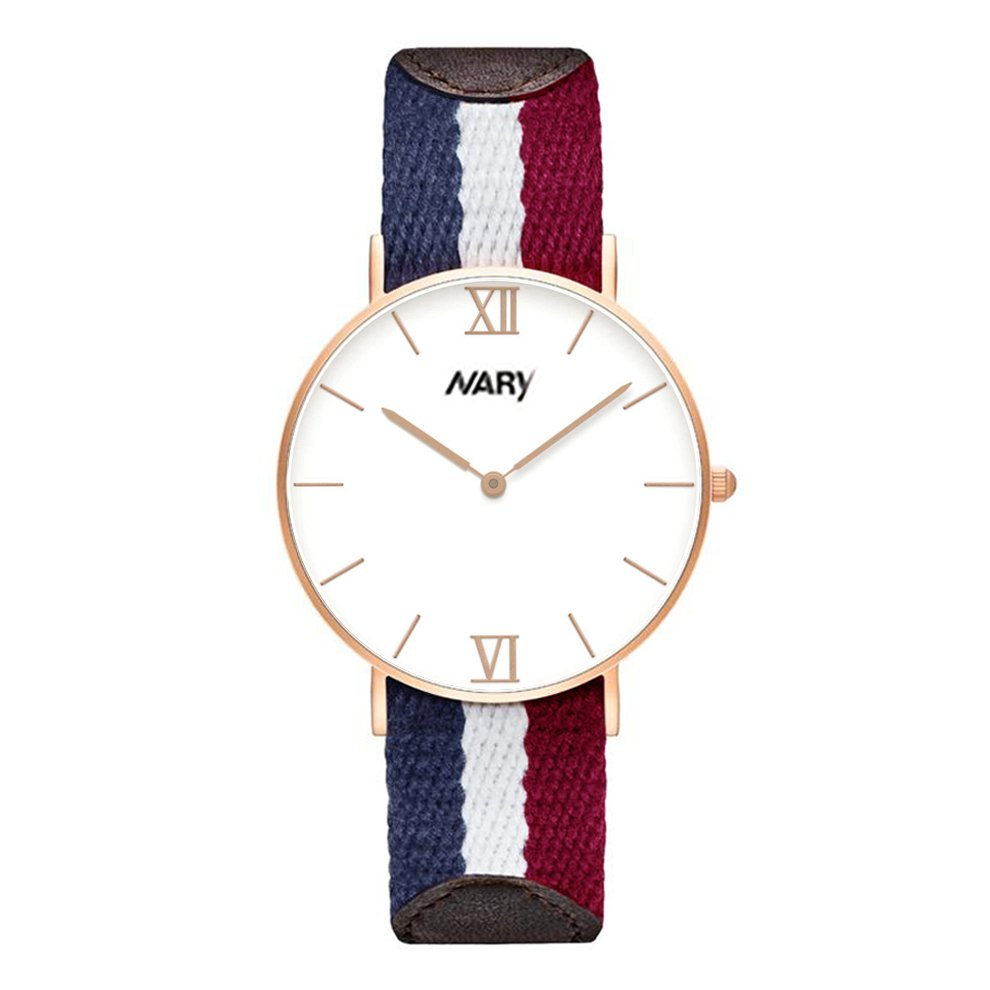 Đồng hồ nam nữ da phối vải NARY G4 FÁP-V