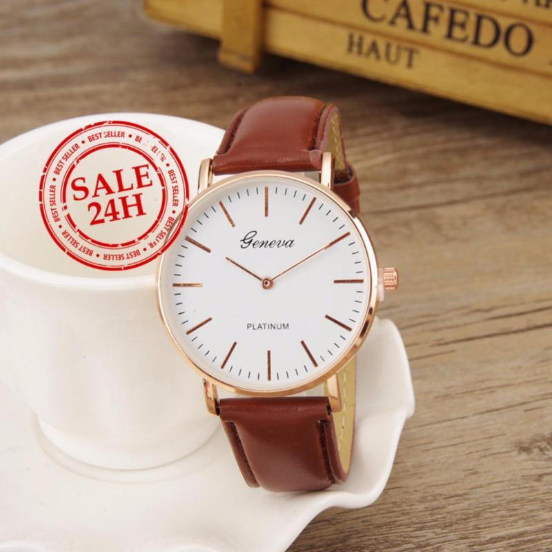 Nơi bán Đồng hồ nam - nữ dây giả da Geneva CG036_BR3967 (Nâu)