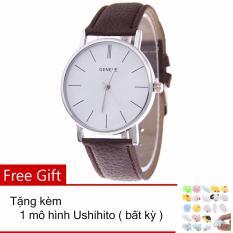 Đồng hồ nam – nữ dây giả da Geneva PU028_BR3383 + Tặng 1 thú dẻo Ushihito bất kỳ