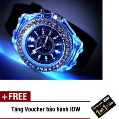Đồng hồ nam phát sáng size 4cm dây silicon thời trang Geneva IDW 0451 (Dây đen) + Tặng kèm voucher bảo hành IDW