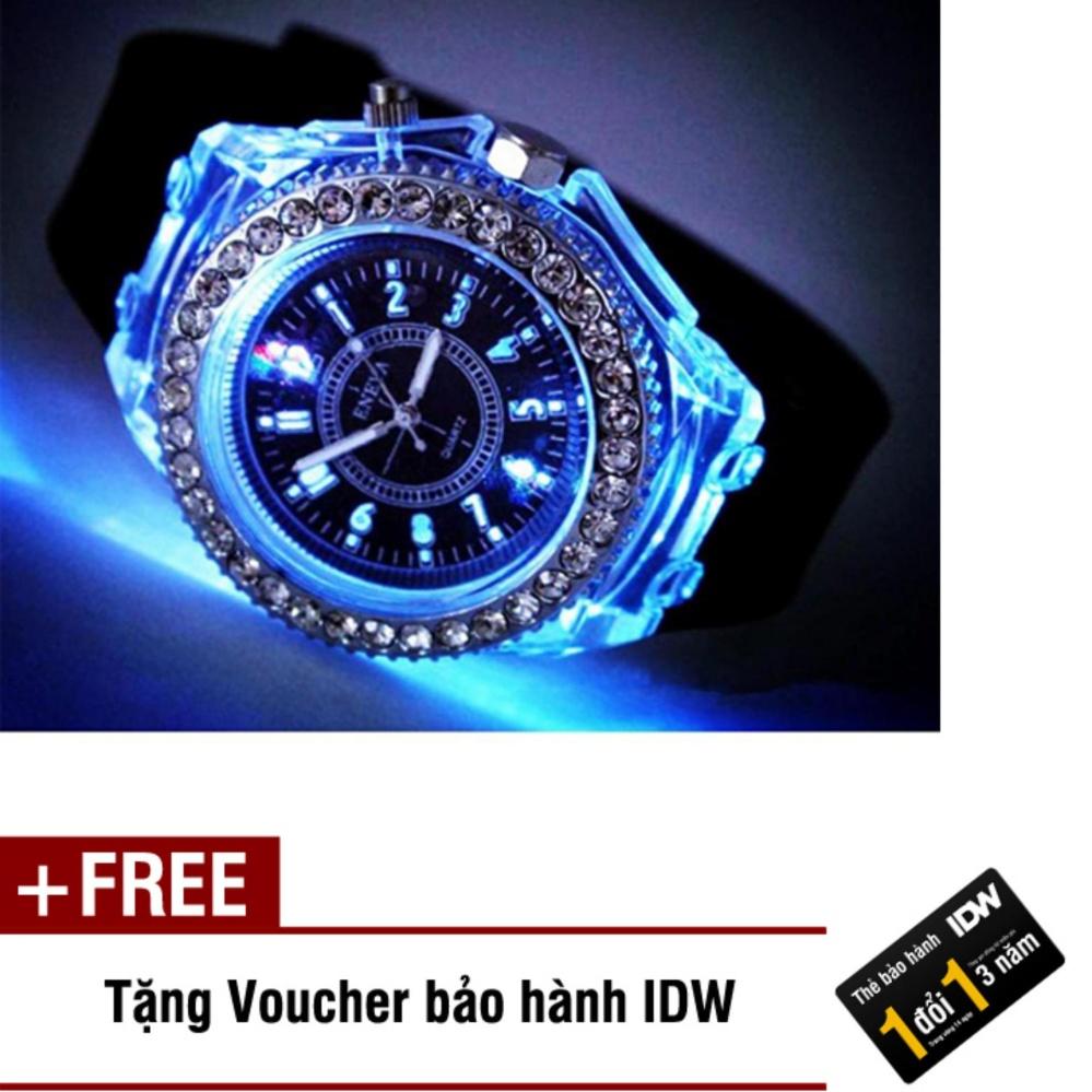 Giá Niêm Yết Đồng hồ nam phát sáng size 4cm dây silicon thời trang Geneva IDW 0451 (Dây đen) + Tặng kèm voucher bảo hành IDW