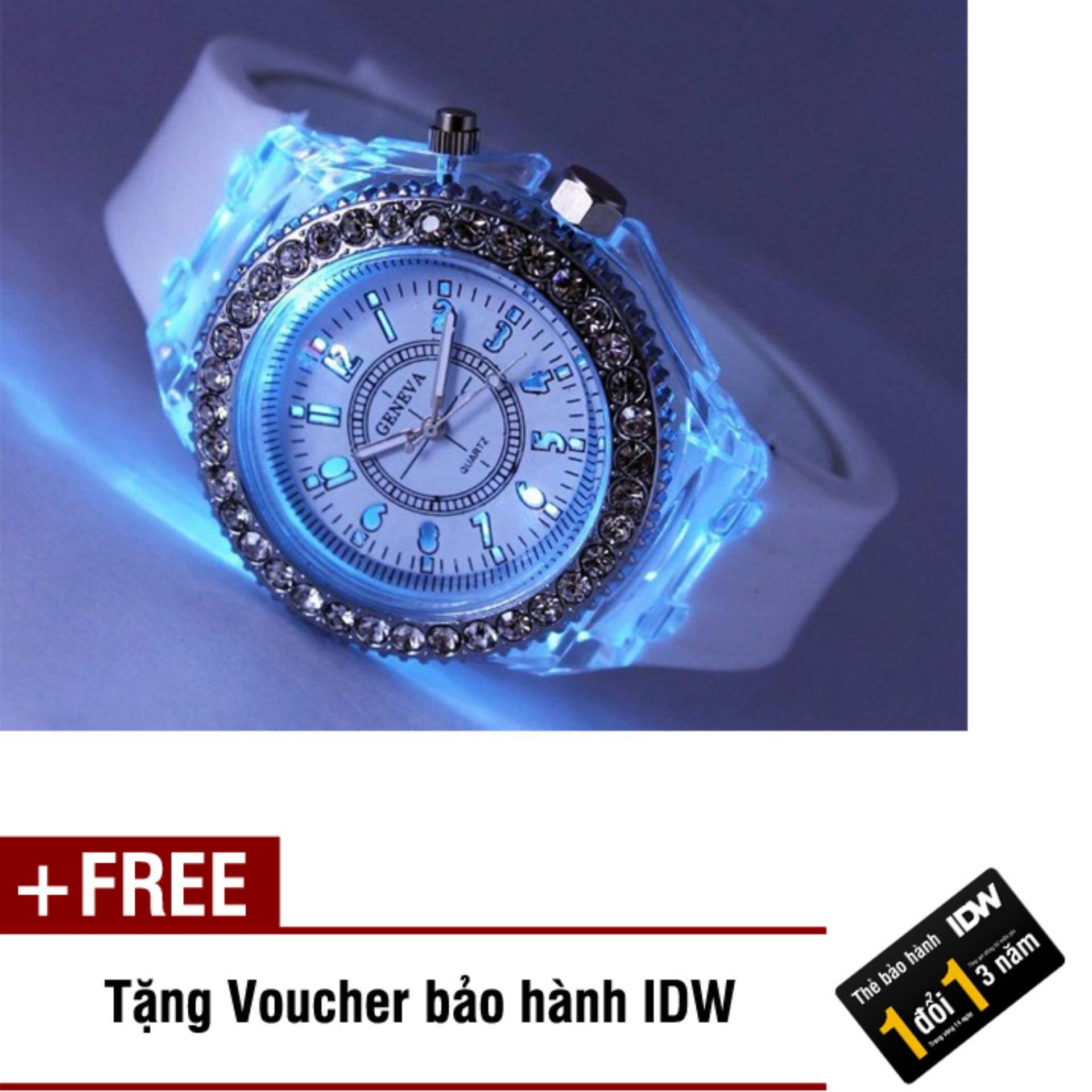 Đồng hồ nam phát sáng size 4cm dây silicon thời trang Geneva IDW 0452 (Dây trắng) + Tặng kèm voucher bảo hành IDW