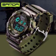 Đồng hồ nam Sanda điện tử vỏ rằn ri kiểu quân đội chống nước SD01
