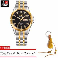 Đồng hồ nam Sino Japan Movt black Luxury, tặng lắc chìa khoá gỗ bình an MDH-S3022