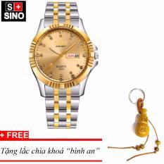 Đồng hồ nam Sino Japan Movt Gold Luxury, tặng lắc chìa khoá gỗ bình an MDH-S3022