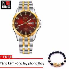Đồng hồ nam Sino Japan Movt Red Luxury, tặng vòng đá đen TPO-S3022