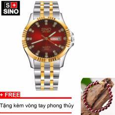 Đồng hồ nam Sino Japan Movt Red Luxury, tặng vòng tay đá đỏ TPO-S3022