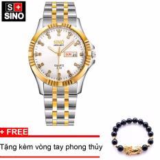 Đồng hồ nam Sino Japan Movt white Luxury, tặng vòng tay phong thuỷ đá đen MDL-S3022