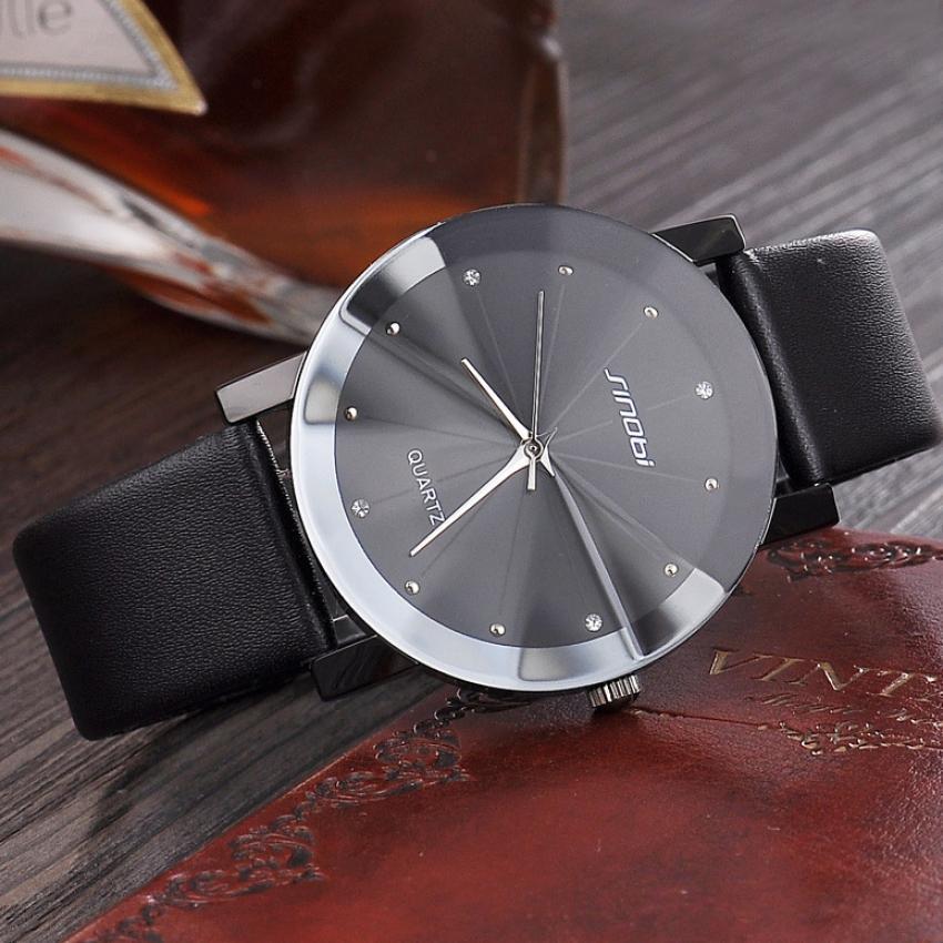 Đồng hồ Nam SINOBI dây da SB002 (Đen)