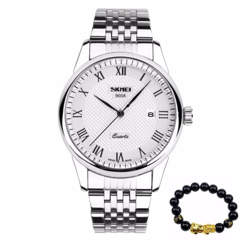Nơi bán Đồng hồ nam SKMEI 9058 dây thép không gỉ - Màu trắng + Tặng kèm vòng tay tỳ hưu