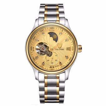 Đồng hồ nam Tevise 8122A cơ lộ máy dây thép không gỉ chạy 4 kim (Mặt vàng dây sọc vàng)