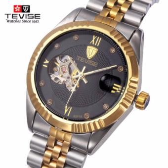 Đồng hồ nam Tevise 8391A cơ lộ máy dây thép đặc chống gỉ (M Mặt Đen dây sọc vàng)