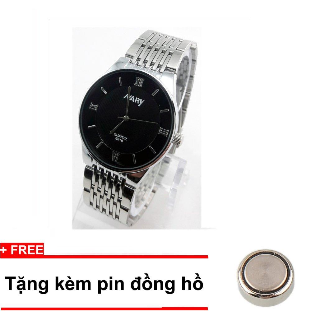 Đồng hồ nam thời trang cao cấp dây thép không gỉ NARY N91 (Mặt đen) + Tặng kèm pin