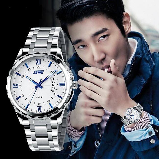 Đồng hồ nam thời trang cao cấp dây thép không gỉ Skmei 9069 ( Trắng ) 115