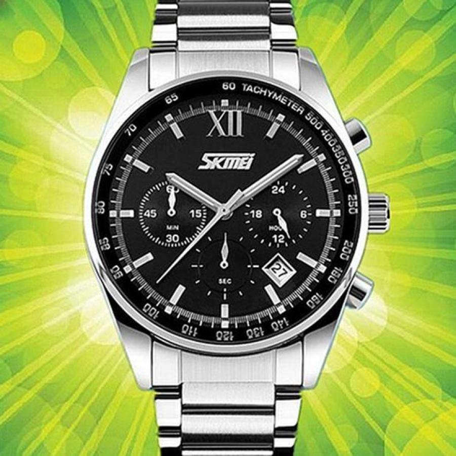 Đồng hồ nam thời trang cao cấp dây thép không gỉ Skmei 9096 Đen 001Đồng hồ nam thời trang Skmei