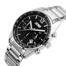 Đồng hồ nam thời trang cao cấp dây thép không gỉ Skmei 9096 ( Đen ) 040
