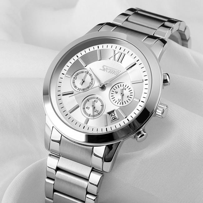 Đồng hồ nam thời trang cao cấp dây thép không gỉ Skmei 9097 ( Trắng ) 056