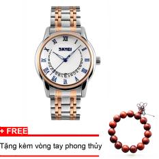 Đồng hồ nam thời trang dây kim loại cao cấp SKMEI 9122 (trắng xanh ) + Tặng vòng tay phong thủy