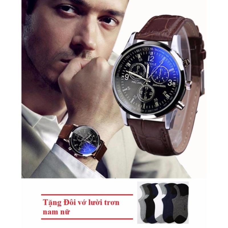 Nơi bán Đồng hồ nam thời trang YZL (Nâu) + Tặng Đôi vớ lười trơn nam
