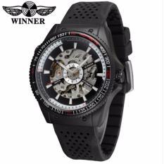 Đồng hồ nam WINNER 8029 lộ cơ tự động dây silicone (Đen)