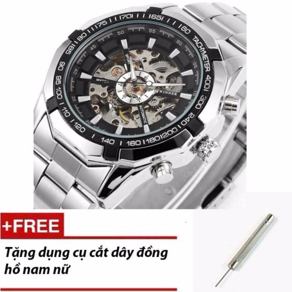 Đồng hồ nam Winner TM340 automatic lộ máy + Dụng cụ cắt dây (Dây màu inox)