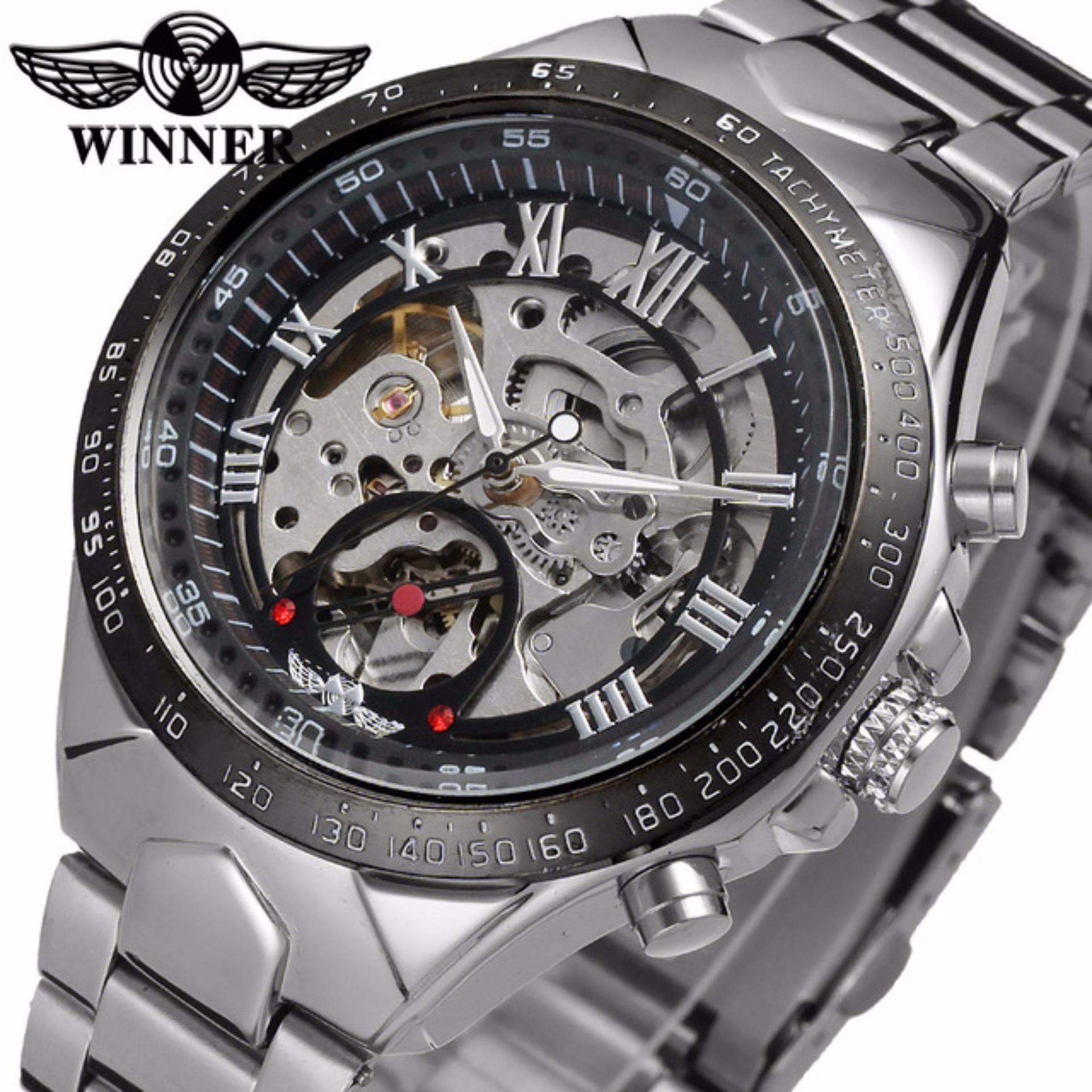 Chỗ nào bán Đồng hồ nam Winner TM432 cơ lộ máy đính đá dây thép không gỉ (Đen)