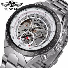 Đồng hồ nam Winner TM432 cơ lộ máy đính đá dây thép không gỉ (trắng)
