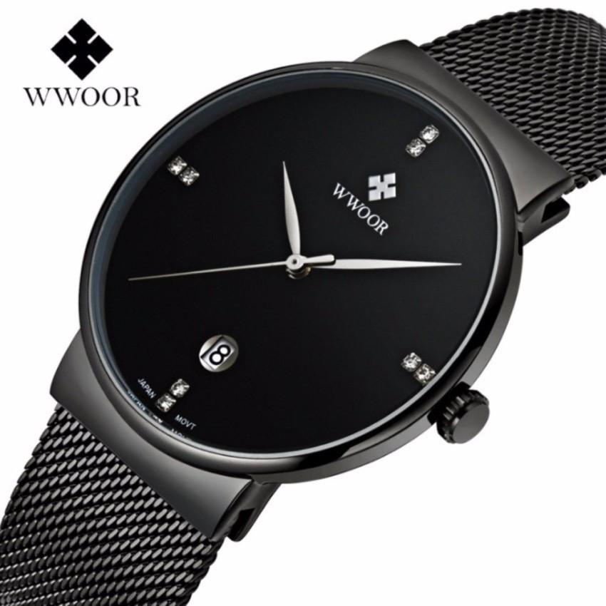 Đồng hồ nam WWOOR 8018 Full box máy mỏng dây thép không gỉ (Đen) Đang Bán Tại Win Win