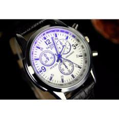 Đồng hồ nam dây da Yazole 271 giá tốt. Đồng hồ chống nước công nghệ Nhật bản(dây đen,mặt trắng)