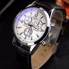 Đồng hồ nam Yazole 271 thời trang.Đồng hồ chống nước cao cấp(dây da đen,mặt trắng)