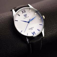 Đồng hồ nam Yazole 318 dây da sang trọng (Mặt Trắng, dây đen)