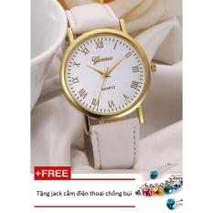 Đồng hồ nữ da tổng hợp Geneva GE015-3 (Trắng) + Tặng 1 jack chống bụi cho điện thoại
