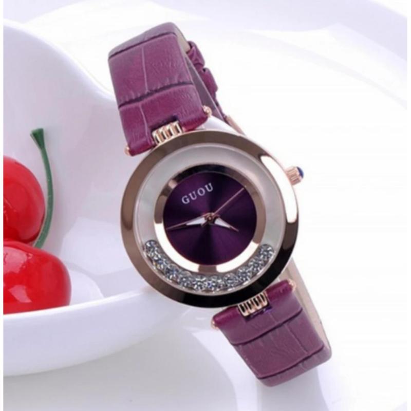 Nơi bán Đồng hồ nữ dây da cao cấp Guou 8039 (Tím)