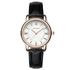 Đồng hồ nữ dây da cao cấp SANDA JAPAN 286 đính đá sang trọng – Dây đen + Tặng dây chuyền tỳ hưu thạch anh